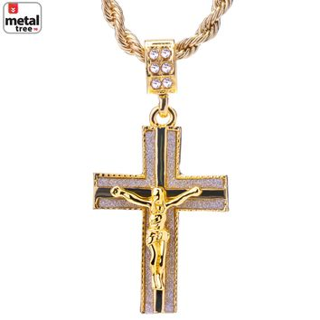 """Jewelry Kay style Men's 14k Gold Plated Iced Out Jesus Cross Pendant 24"""" Rope Chain HC 2042 G"""