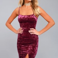 Made You Wink Plum Purple Velvet Bodycon Dress