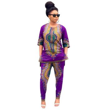 Womens 2 piece set African Tribes Print Dashiki With Ankle Length Pants