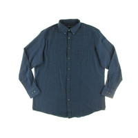 John Ashford Mens Big & Tall Flannel Herringbone Button-Down Shirt