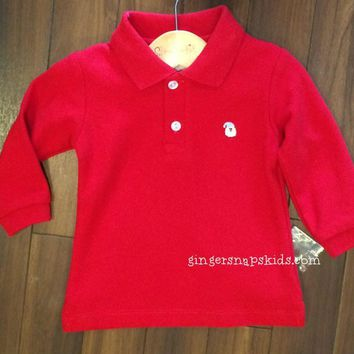 Boys Red Santa Embroidered Polo Shirt (sz 3m, 18m last ones)