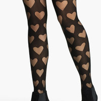 Frenchi® Burnout Heart Tights (Juniors) | Nordstrom