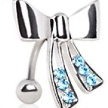 Belly Ring Top Down Bow Blue Gem Non Dangle Naval Steel Body Jewelry