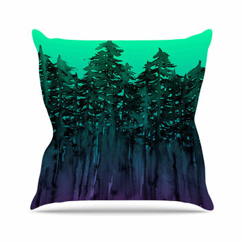 "Ebi Emporium ""Forest Through The Trees 9"" Purple Black Outdoor Throw Pillow"
