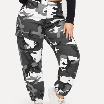 Plus Pocket Side Camo Tapered Pants