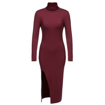 Aspen L/S Collared Side Slit Bodycon Contour Dress