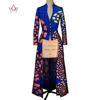 African Print Maxi Trench Coat