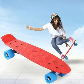 ICIK272 22 Inches Four-wheel Skateboard 5 Colors Street Freestyle Cool Shock Resistant Long Skate Board Mini Cruiser Fish Banana Board