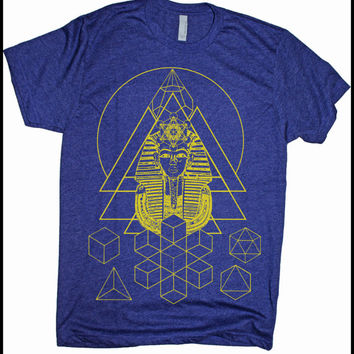 Men's Pharaoh's Dream Sacred Geometry Egyptian Metatron Screen Printed Shirt Purple