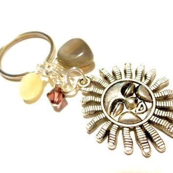 Yellow Jade Celestial Sun Charm Keychain Made With Swarovski Crystal Elements, Sun Worshiper Gift