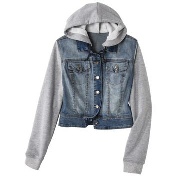 Mossimo Supply Co. Juniors Hooded Denim Jacket - Blue/Gray