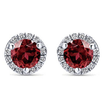 Gabriel Garnet Halo Diamond Earrings