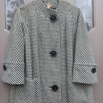 1950s fab  wool  black white houndstooth womens chunky buttons swing coat