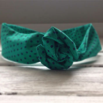 Teal Green and Navy Polka Dot Music Festival Summer Concert Hippie Twist Head Scarf Dolly Bow Wire Headband Bun Wrap