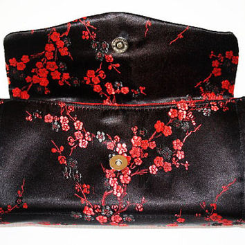 Black and red, ladies wallet, black and red purse, mothers day, necessary clutch wallet, clutch purse, gifts for her