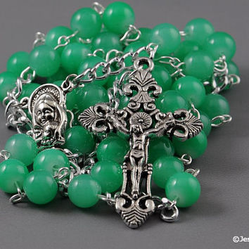 Wire Wrapped Rosary Light Jade Green Glass Traditional Catholic