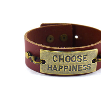 Choose Happiness Leather Cuff Bracelet,Available in Custom Colors,Quote Bracelet,Motivational Bracelet, Inspirational Bracelet, Leather Cuff