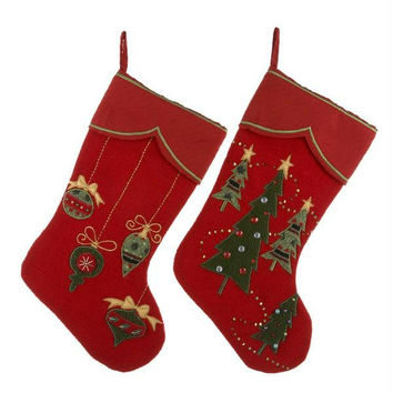 "12 Christmas Stockings - 19 ""  - Red"