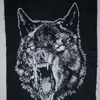 WOLF Back-Patch, WHITE on Jet Black Cotton Fabric, Beeswaxed cotton waterproofing, LARGE or Medium