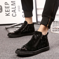 Personality Zip Ankle Sequined Fashion Biker Boots Insole Increase Rhinestone Booties Bling Totem Single Men Shoes Cap Toe