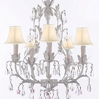 White Wrought Iron Floral Chandelier Lighting W/ Pink Stars And Shades! - G7-Sc/Whiteshade/B38/White/407/5