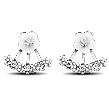 Daisy Stud Earrings Gold Plated with Cubic Zirconia