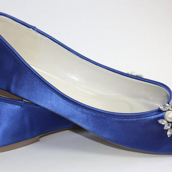 Blue Wedding Shoes - Flat Bridal Shoes - Choose From Over 100 Colors - Custom Wedding Flats - Comfortable Wedding Shoe - Pearl And Crystals