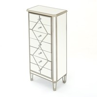 Benley Silver Finished Mirrored 7 Drawer Cabinet with Faux Wood Frame