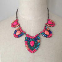 Mixed Color Statement Necklace, Hot Pink Crystal Necklace