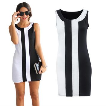 Free Shipping Plus Size Black and White Sleeveless Summer A-line Mini Dress sexy womens sleeveless summer dresses 3S2483 S-5XL