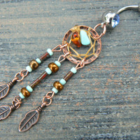 copper and turquoise dreamcatcher belly ring turquoise czech beads cuff in boho gypsy hippie hipster native and tribal fusion