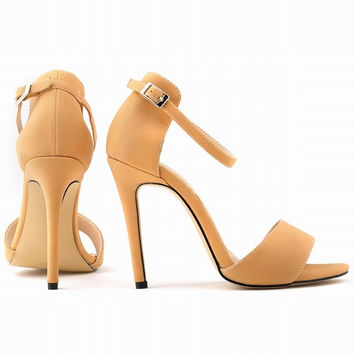 New Fashion Open Toe Suede Women Pumps Ankle Strap High Heels Shoes Summer Shoes Pumps US Size 4-11  102-2SUEDE