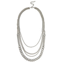 Silver tone draped curb chain necklace