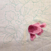 Vintage Crewel Linen Stamped Canvas Ready to Complete Large Floral Design DIY Printed Canvas Crewel Embroidery  20 x 26 inches