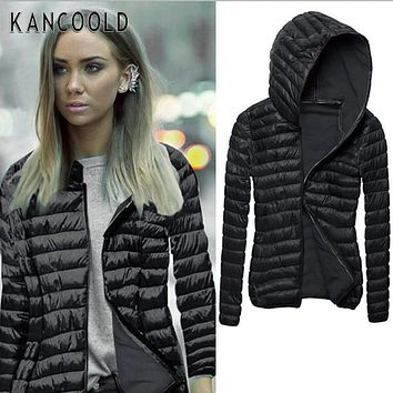 Fashion Long Sleeve Winter Hooded Coat Zipper Coat Women Down Cotton Jacket Fashion Coat Solid Color Warm Quilted Overcoat No4