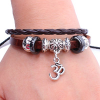BA052 Genuine Leather Charm Wrap Buddhist Om Ohm Bracelet Wristband Adjustable For Men Women