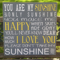 You Are My Sunshine Song- Large Subway Art, Childrens Art, Nursery Art, Kids Sign, Sunshine Song, Kids Room Decor