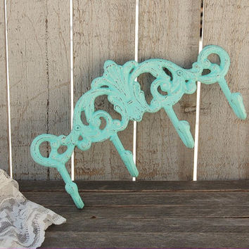 Wall Organizer, Cast Iron,  Shabby Chic, Mint Green, Coat, Towel, Beach, Necklace, Hand Painted, Distressed, Metal, Coat, Hook, Hanger