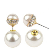 Classic Double sided peek-a-boo style half pave ball and pearl earrings 633e0826