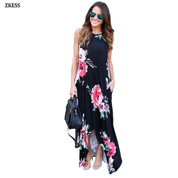 Zkess Women Fashion Floral Print Pocketed Holiday Boho Dress Casual High Low Slit Style O Neck Sleeveless Maxi Dresses LC61561