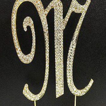Gold Letter Initial M Birthday Crystal Rhinestone Cake Topper M Party Monogram