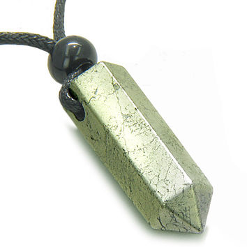 Amulet Golden Pyrite Iron Crystal Point Healing Powers Wand Pendant Necklace