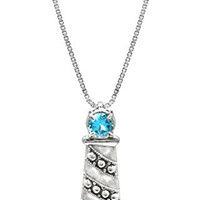 "Sterling Silver and Blue Topaz Lighthouse Necklace Pendant with 18"" Box Chain"