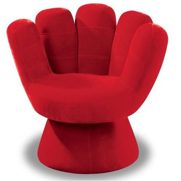 LumiSource Plush Mitt Chair, Hot Pink