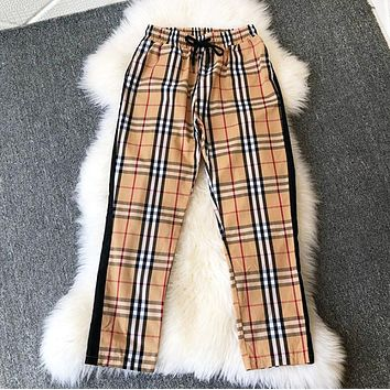 Burberry Fashion New Plaid Women Men Sports Leisure Pants