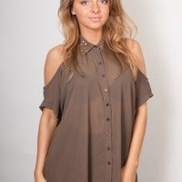 Glamorous UK | Studded Cut Out Shoulder Khaki Blouse | Glamorous UK
