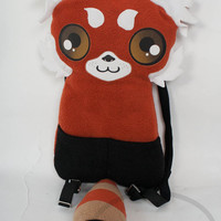 Red Panda Backpack,  Bag, Plush Animal, Handmade