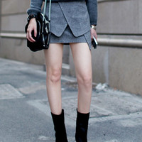 Mini Duffle Skirt In Gray