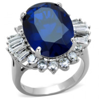 Bottom of the Ocean- Stainless Steel And Sapphire Color Stone Cocktail Ring