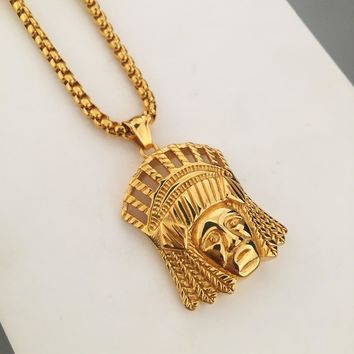MEN'S Jewelry Titanium Steel NEW Dope Indian Chief Pendant Necklace High Quality Boxing Chain Crazy Horse Hip Hop Style
